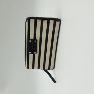 Kate Spade Patent Leather Black & Cream Stripes Ziparound Long Wallet